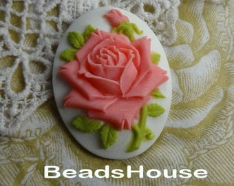 20%off 90-00-CM 2pcs  Pretty Rose Oval Cameo (30 x 40 mm) - Salmon  Rose on White