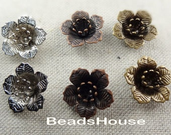 FF-600-24Ant  6pcs Antiqued Brass Flower Bead Cap, NICKEL FREE