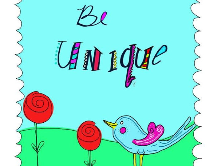 Be Unique Card, drawing, illustration, Blue Bird Cartoon Doodle, made on recycled paper comes with envelope and seal
