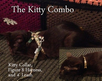 The Kitty Combo,,,  Kitty Collar, Figure 8 Harness and matching 4' Leash