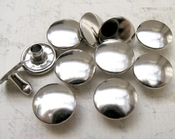 100 sets 13mm Silver / nickel  FLAT Round Rapid Rivet Stud for leathercarft
