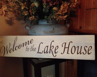 Welcome to the Lake House Painted Wooden Sign