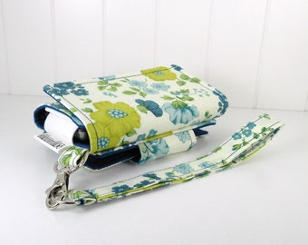 Cell Phone Wallet, Wristlet for iPhone/Galaxy - The Errand Runner - Floral/Navy