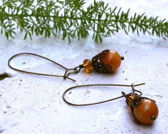 Yellow Jade Amber Glass Dangle Brass Rustic Earthy Woodland Earrings