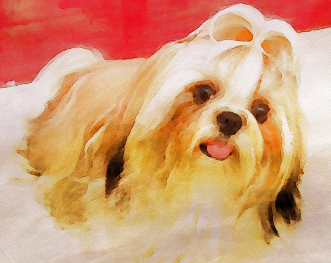 Custom Unique Gift Pet Watercolor Painting Pet Lover Wall Art Dog Puppy Photo Canvas 16x20