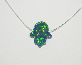 13x11mm Dark Green Opal HAMSA Fatima Hand Charm Pendant with Sterling Silver 925 0.6mm fine Chain NECKLACE - Real Silver - Free Shipping.