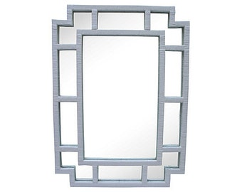 Hollywood Regency Vintage Chinoiserie White Glossy Rattan Mirror