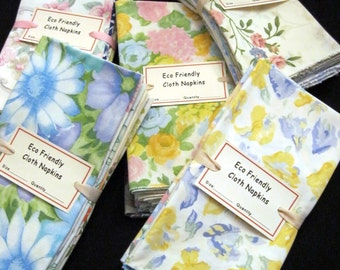 Eco Friendly Cloth Dinner Size Napkins Vintage Florals and Prints Set of 12