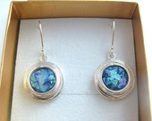 Stunning  colorful  Roman Glass 925 Sterling Silver Earrings