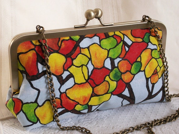 Handmade, hand painted clutch handbag. Orange, green, gold, blue, red, yellow. AUTUMN SYMPHONY by Lella Rae on Etsy