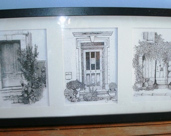 Limited edition drawings of three ancient doorways in pen & ink, pencil and charcoal