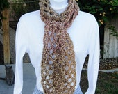 READY TO SHIP Winter Crochet Scarf, Tan Brown Gold Rose Neutral Multicolor, Soft Silky Lightweight Mesh Crochet Knit, Neck Warmer