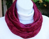 INFINITY SCARF Loop Cowl, Dark Solid Red Panne Crushed Velvet Knit Fabric, Handmade Soft Lightweight Circle Endless Wrap..Ready to Ship