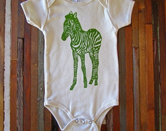 Eco Friendly Baby - Organic Cotton Onesie - Screen Printed American Apparel Baby Onesie - Zebra - Eco Friendly - Handmade (You pick size)