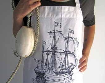 Screen Printed Cotton Apron - Natural Cotton Twill Apron - Pirate Ship - Eco Friendly Kitchen Apron - Handmade - Full Apron - Nautical Apron