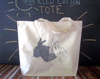 Canvas Tote - Screen Printed Recycled Cotton Grocery Bag - Large Tote Bag - Market Tote - Reusable and Washable - Eco Friendly - Shadow
