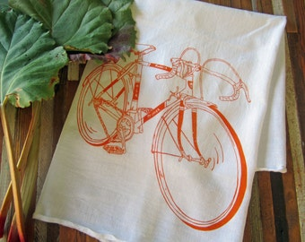 Tea Towel - Screen Printed Flour Sack Towel - Bicycle Kitchen Towel - Handmade - Road Bike - Eco Friendly Cotton Towel - Classic Flour Sack