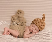 SET Camel Brown Newborn Knot Hat & Stretch Knit Wrap Photography Prop