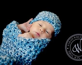 Newborn Cocoon Beanie Hat Set Blue Skies