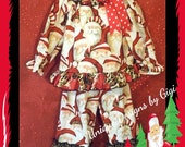 Girls on the Prowl for Santa, Adorable two piece Santa with leopard print ruffles set.