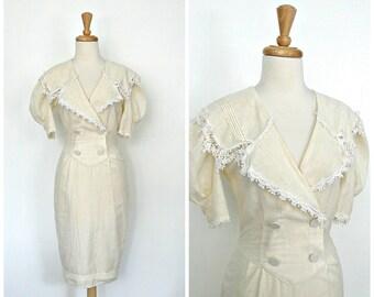Vintage Short Wedding Dress - 70s dress - wiggle dress - white linen - bridesmaid - tea dress - Small