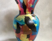 Colorful Abstract Decoupaged Glass Vase