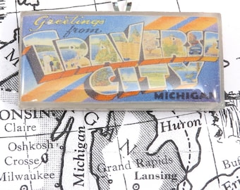 Greetings from TRAVERSE CITY Michigan Vintage Large Letter Postcard Pendant Necklace