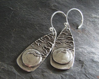 Artisan Fine Silver Earrings, Moon and Trees, Handmade in Recycled Silver From Original Carving, by SilverWishes