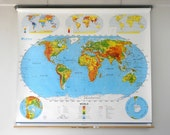 Pull Down Classroom  Map, 2-in-1 Pull School Map, World / United States, Multicolored, FREE Shipping