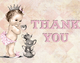 Vintage Baby Shower Tea Party Invitation For Girl - Princess - Crown - Pink - DIY Printable Matching Thank You Card INSTANT DOWNLOAD