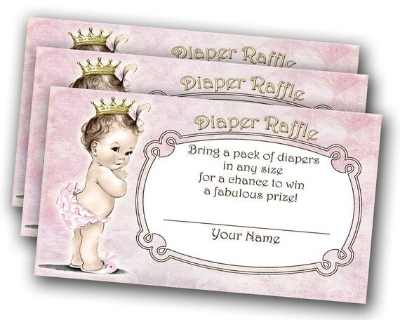 Diaper Raffle Tickets Vintage Baby Shower For Girl - Princess - Crown ...