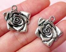 Flower Rose Charms (2pcs) (20mm x 18mm / Tibetan Silver) Floral Metal Findings Pendant Bracelet Earrings Zipper Pulls Keychain CHM268
