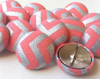 Push Pins,15 Pushpins,Thumb Tacks,Thumbtacks,Chevron Pushpins,Thumbtacks,Pink,Silver,Coral,Chevron,Gift,Home Office,Bulletin Board,Gift