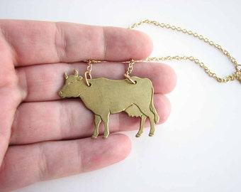 brass cow necklace