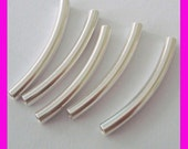20pcs 2.5mm x 25mm solid sterling silver liquid arch curved elbow moon shape plain tube spacer S227