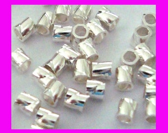 100pcs 2mm x 2mm Sterling Silver twisted crimp bead cut tube spacer F41