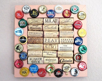 Wine Cork & Beer Cap Key Hanger - for the wine geek and beer lover in your life