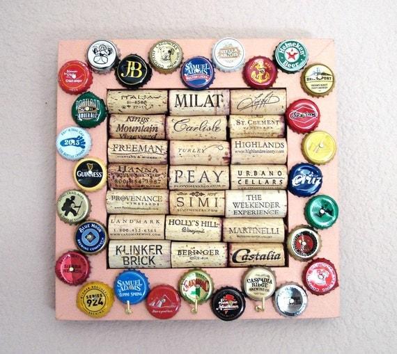 Wine Cork & Beer Cap Key Hanger - for the wine geek and beer lover in your life