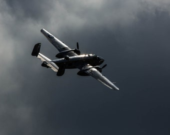 B25 Mitchell Flies into the Storm, Fine Art Photography, Black and White Photography