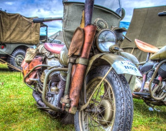 WW2 Military Harley,  8x10 Color Fine Art Photograph