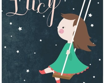 11 X 14 Personalized children's illustration, little girl or boy swinging through at the stars, the beatles, lucy in the sky with diamonds