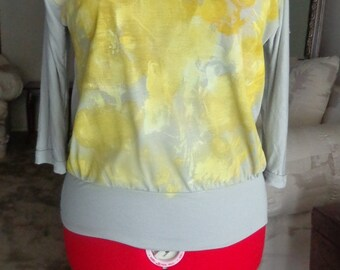 Yellow and Gray Hand Painted Shirt