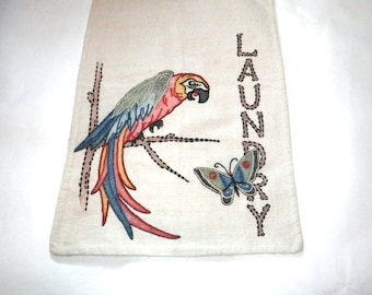 Arts and Crafts Era Linen Laundry Bag - Parrot with Butterfly - Embroidered