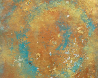 SALE/ gold and aqua abstract art/ original abstract painting in aqua and gold/ FREE SHIPPING in u.s.