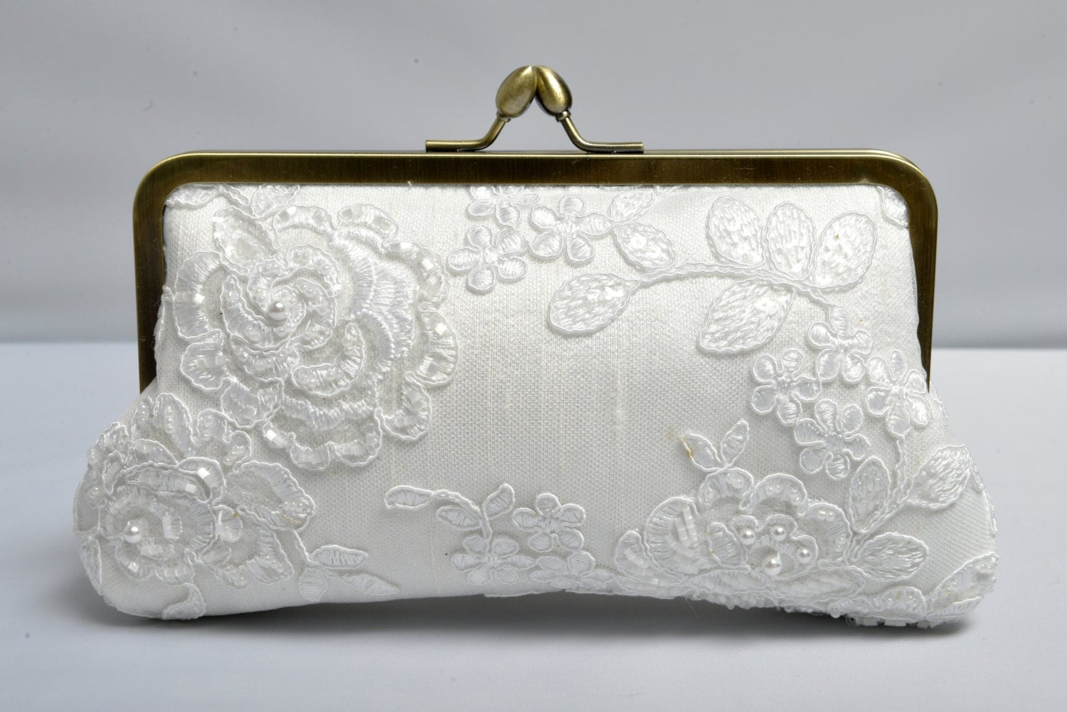 Pearl U0026 Lace Bridal Clutch White Wedding Purse Beaded