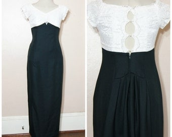 80s 90s Black Lace Maxi Dress Small Medium White Lace Open Back Fancy Formal