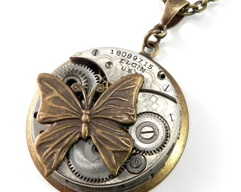 Steampunk Jewelry, Steampunk Necklace, Clockwork Butterfly Vintage Watch Movement Brass, Steampunk Jewelry by compassrosedesign