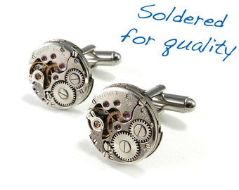 Steampunk Cufflinks - LImited Edition Round Luxe Cuff Link - Steampunk Jewelry by Compass Rose Design