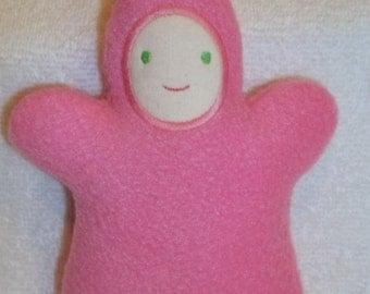 Handmade Pink Moonbeam Baby with Light Face - Stuffed Plush Doll Softie