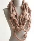 Black Friday Cyber Monday AOD crochet scarf bulky infinity scarf bubble chain circle  ginger neckwarmer  artist own design winter accessory
